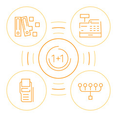 Bookkeeping icons with line art circles. Thin outline accounting emblems for the account service business.