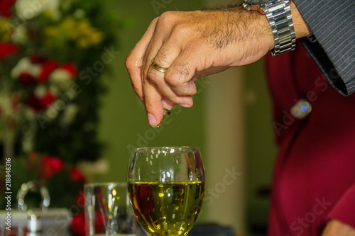 religious ritual with anointing oil