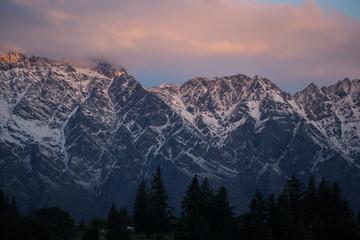 Queenstown New Zealand mountains at dusk