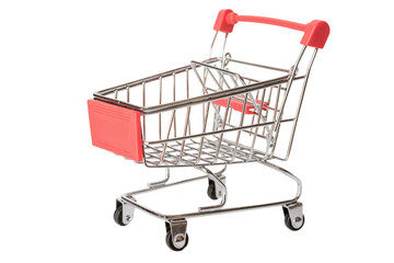Red shopping cart or empty supermarket cart isolated on white background with clipping path