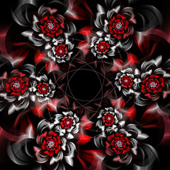 Abstract fractal background, garland of flowers, computer-generated illustration.