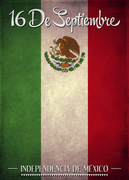 16 de Septiembre, dia de independencia de Mexico - September 16 Mexican independence day spanish text illustration background