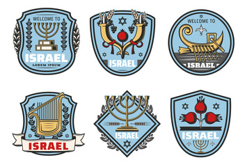Israel travel landmark vector symbols