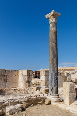 Carved stone column of the ancient city, Cyprus, Kourion