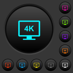 4K display dark push buttons with color icons