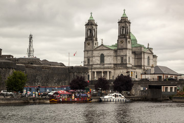 River and Galway Cathedral of 'Our Lady Assumed into Heaven and St Nicholas' in Galway. Ireland