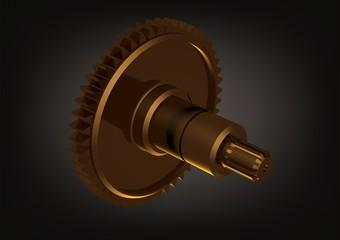 Gold cogwheel on a black