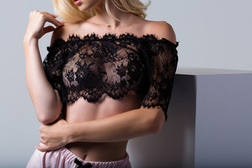 Woman wearing a set of lace lingerie