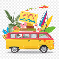 Summer travel vector illustration with bus. Beach concept.