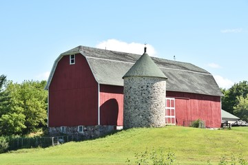 Barn with Stone Silo