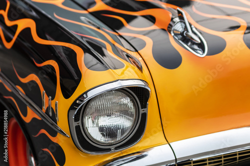 An Old Muscle Car With A Flame Paint Job Stock Photo And Royalty