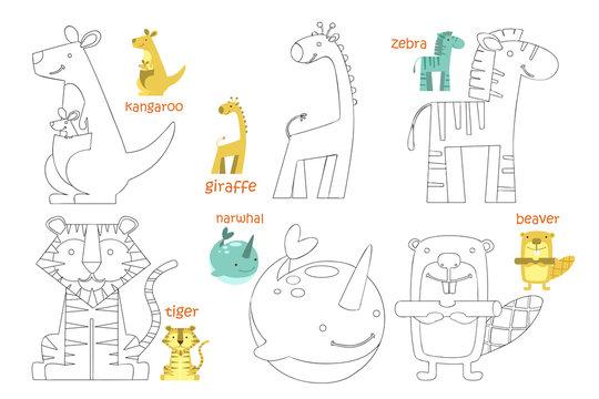 Kids coloring page set