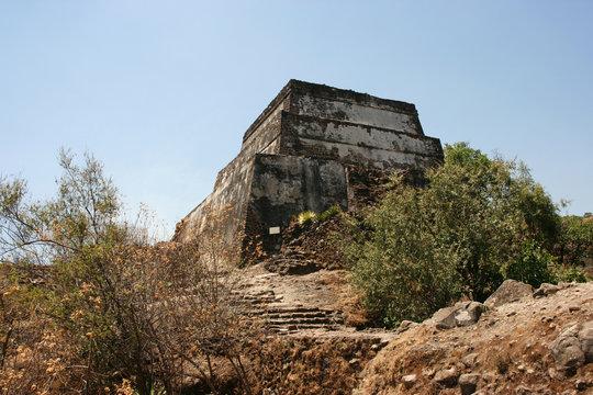 Pyramid built on peak of the Sierra de Tepoztlan, Mexico.