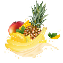 Vector ads 3d promotion banner, Realistic mango, lemon, banana, pineapple  splashing with falling slices, juice drops, vitamins, leaves. Ice cream, yogurt brand advertising. Label poster