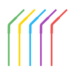 Colored plastic, corrugated, curved straws for drinking liquids. Vector design elements isolated on light background.