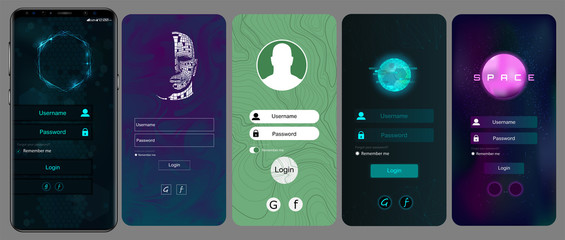 Login Screen and Sign In form template for mobile app or website design. Sign In, Sign Up, and Lock Screen for Mobile Apps and Responsive Website. Vector illustration template set. IU,UX, KIT