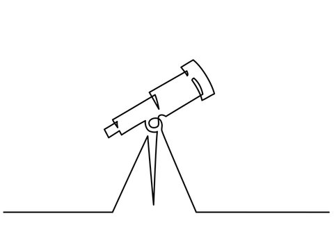 Continuous one line drawing. School Telescope icon. Vector illustration