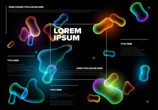 Flyer Layout with Glowing Shapes