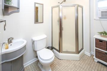 Lovely white bathroom interior.