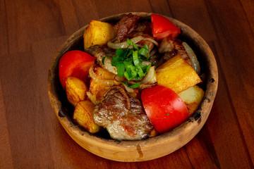 Roasted pork and vegetables