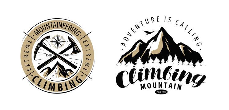 Climbing, mountaineering logo or label. Mountains vector