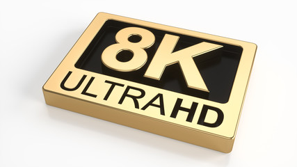 8K ultra hd symbol isolated on white background. Television technology concept of golden and black ultra high definition sign on white plane. 3d rendering