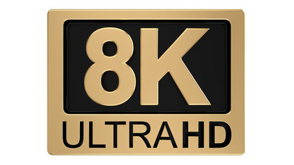 8k Ultra Hd Symbol Isolated On White Background Television Technology Concept Of Golden And Black