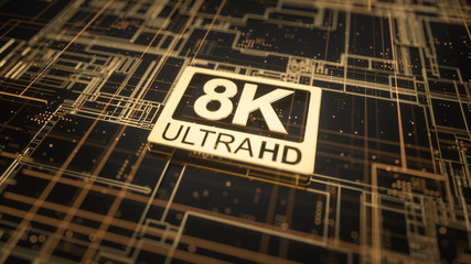 8K ultra hd symbol on abstract electronic circuit board. Television technology concept of ultra high definition sign on digital background with many lines and geometric elements. 3d rendering