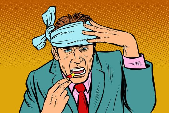 pop art man with headache takes a pills