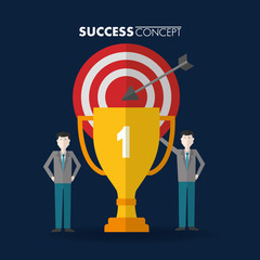 success concept pointer trophy mans pointed standing vector illustration