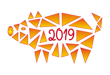 The pig is a symbol of 2019. Year of the yellow pig. Abstract polygonal vector illustration in yellow-orange tones.