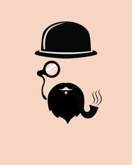 Old fashioned hat, monocle and beard with smoking pipe, stylized silhouette of gentleman, Vector EPS10
