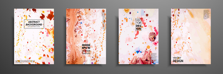 Fototapete - Set of universal cards. Fluid art. Hand drawn cards with abstract grunge textures. Use for printed materials, invitations, greeting cards, covers, placards, posters, postcards, brochures and flyers.
