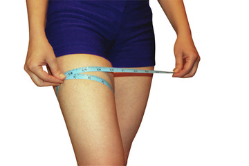 a woman measures a part of her leg, a sport diet, a healthy life process, isolated white background