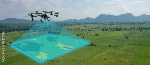 Wall mural drone for agriculture, drone use for various fields like research analysis, safety,rescue, terrain scanning technology, monitoring soil hydration ,yield problem and send data to smart farmer on tablet