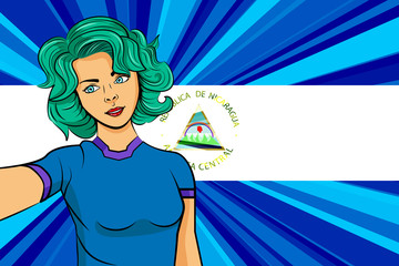Pop art girl with unicorn color hair style. Young fan girl makes selfie before the national flag of Nicaragua. Vector sport illustration in retro comic style