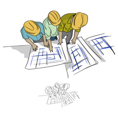 top view three construction engineer looking at blueprint in construction site vector illustration sketch doodle hand drawn with black lines isolated on white background