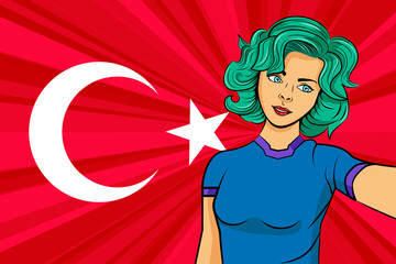Pop art girl with unicorn color hair style. Young fan girl makes selfie before the national flag of Turkey. Vector sport illustration in retro comic style