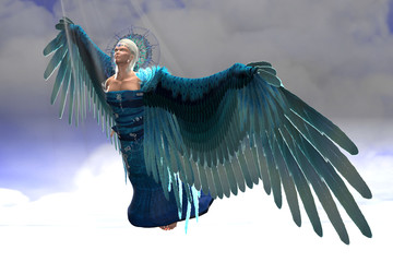 Angel Michael in Flight - Rays of sunlight shine down on archangel Michael as he flies toward the gates of heaven.