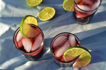 cold drinks of iced tea made from Hibiscus flower petal tea