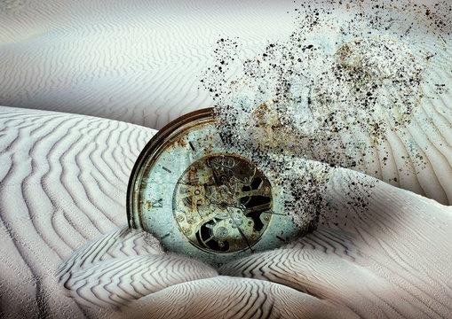 antique disintegrating clock buried in desert sand