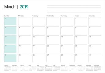March 2019 desk calendar vector illustration