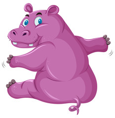 A pink hippopotamus on white backgroud