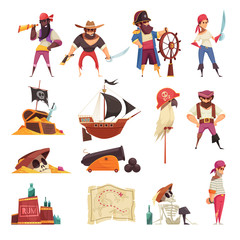 Pirate Cartoon Icons Collection