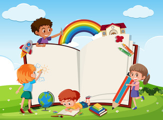 Children and blank book template