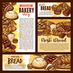 Bread sketch posters and bakery banners