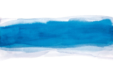 Abstract Blue Watercolor Background, Hand Paint On Paper.