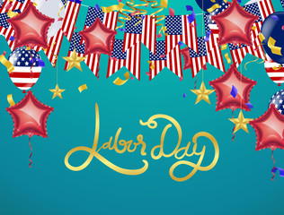 USA Labor Day greeting card with brush stroke background in United States national ,Labor Day poster design