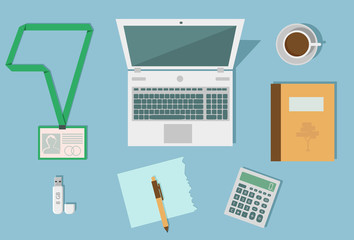 business workplace, set of desktop accessories, office work place, various office equipment, place for work, working process icons, flat design, vector graphics to design