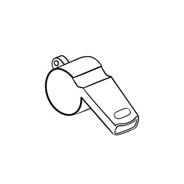 Whistle hand drawn outline doodle icon. Competition, football warning tool, judge and referee whistle concept. Vector sketch illustration for print, web, mobile and infographics on white background.